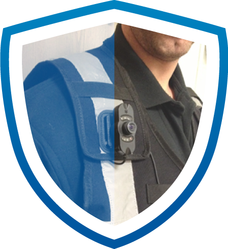 Security guard with shoulder cam keeping users safe