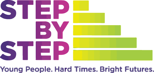 Step by step. Young People. Hard Times. Bright Futures partner logo